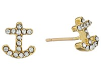 Kate Spade Anchors Away Pave Anchor Stud Earrings Clear Gold