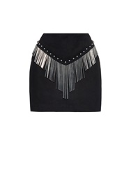 Anthony Vaccarello Metal Tube Embellished Suede Mini Skirt