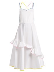 Anna October Ric Rac Trim Stretch Cotton Dress White