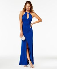 Trixxi Juniors' Halter A Line Gown Royal Blue