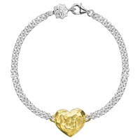 Dower And Hall Engravable Cherish The Moment Heart Double Chain Bracelet Gold