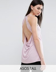Asos Tall Cami Top With Lace Open Back Dusty Lilac Purple