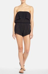 Junior Women's Billabong 'Behind The Sun' Strapless Romper Black