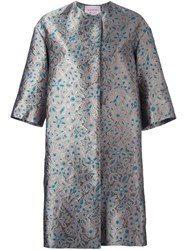 Lanvin Embroidered Floral Coat Green