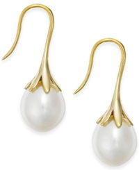 Macy's Cultured Freshwater Pearl Drop Earrings In 14K White Or Yellow Gold