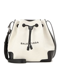 Balenciaga Canvas And Leather Bucket Bag Beige