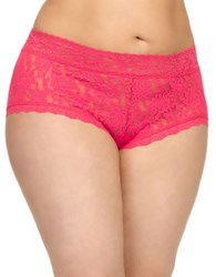 Hanky Panky Plus Lace Boyshorts Tickled Pink