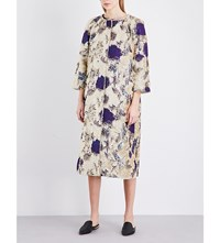 Alberta Ferretti Embellished Metallic Jacquard Coat Multi Coloured