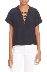 Frame Women's Lace Up Silk Blouse