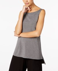 Eileen Fisher Boat Neck High Low Shell Regular And Petite Ash