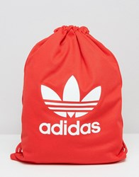 Adidas Tricot Drawstring Backpack Red