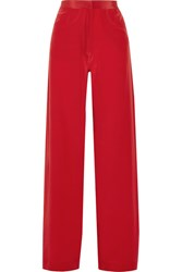 Juan Carlos Obando Silk Crepe De Chine Wide Leg Pants Red
