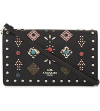 Coach Western Rivet Leather Cross Body Bag Sv Black Multi