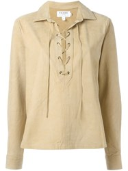 Frame Denim Lace Up Suede Top Nude And Neutrals