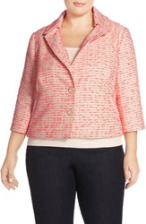 Plus Size Women's Halogen Notch Collar Crop Tweed Jacket