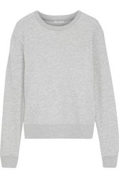 Joie Tiered Broderie Anglaise Paneled French Cotton Terry Sweatshirt Light Gray