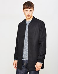 The Idle Man Long Line Wool Bomber Jacket Black