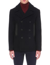 Sandro Double Breasted Wool Blend Peacoat Navy Blue