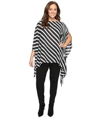 Vince Camuto Plus Size Diagonal Stripe Poncho Rich Black Women's Clothing