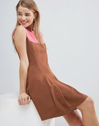 Louche Drop Hem Dress With Pleated Skirt And Contrast Neck Brown