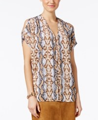 Alfani Prima Tribal Print Cold Shoulder Blouse Only At Macy's Luxe Snake