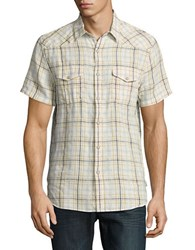 Lucky Brand Linen Cotton Short Sleeve Sportshirt Natural