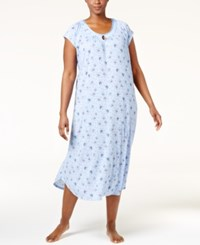 Charter Club Plus Size Crinkle Printed Nightgown Only At Macy's Flutter Butterfly