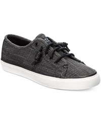 Sperry Women's Seacoast Canvas Sneakers Women's Shoes Black Sparkle