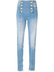 Balmain Button Embellished Skinny Jeans Blue