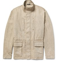 James Perse Cotton And Linen Blend Utility Jacket Ecru