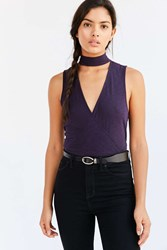 Silence And Noise Violet Mock Neck Surplice Top Black