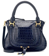 Chloe Marcie Croc Effect Leather Tote Blue