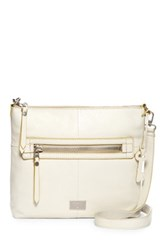 Fossil Dawson Top Zip Leather Crossbody White