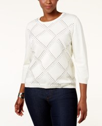 Alfred Dunner Plus Size Embellished Sweater White