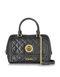 Love Moschino Black Quilted Eco Leather Satchel Bag