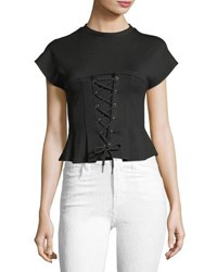 Few Moda High Neck Cap Sleeve Corset Blouse Black
