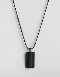 Chained And Able Logo Id Dogtag Necklace In Matt Black Black