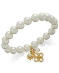 Charter Club Gold Tone Imitation Pearl Stretch Charm Bracelet Only At Macy's