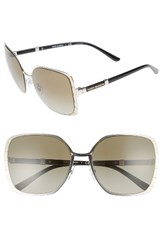 Tory Burch Women's 57Mm Gradient Square Sunglasses Silver Gold Silver Gold