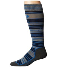 Icebreaker Ski Ultra Light Over The Calf Toothstripe Fossil Admiral Pelorus Men's Crew Cut Socks Shoes Multi