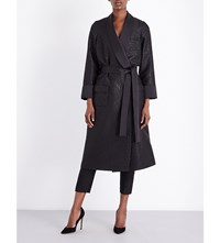 Racil Metallic Jacquard And Satin Coat Black