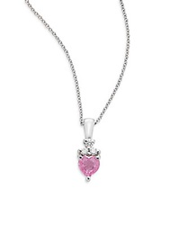 Effy Pink Sapphire Diamond And 14K White Gold Necklace
