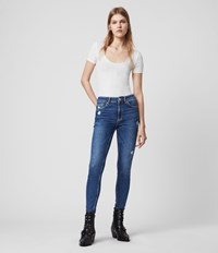 Allsaints Dax High Rise Superstretch Shaping Skinny Jeans Mid Indigo Blue