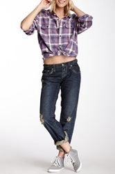Stitch's Jeans Distressed Loose Straight Leg Jean Blue