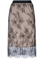 Twin Set Lace Detail Skirt Women Polyamide Polyester 38 Nude Neutrals