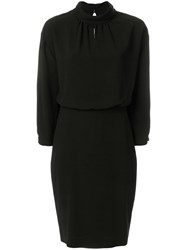 Boutique Moschino Fitted Gathered Collar Dress Black