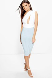 Boohoo Contrast Colour Multiway Midi Dress Duck Egg Blue