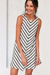 Cooperative Mitered Striped Swing Dress Black And White