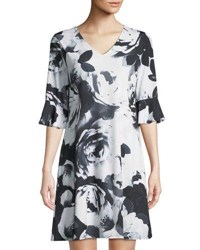 Cynthia Steffe Half Sleeve Flora Print Sheath Dress Black