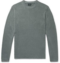 Club Monaco Cotton And Linen Blend Sweater Sage Green